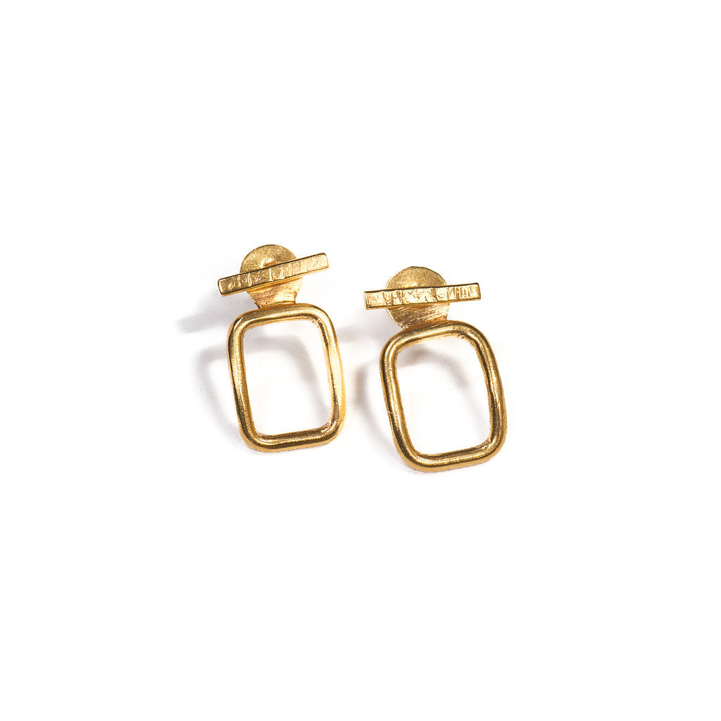 rectangular gold earrings with jacket by Thank You India