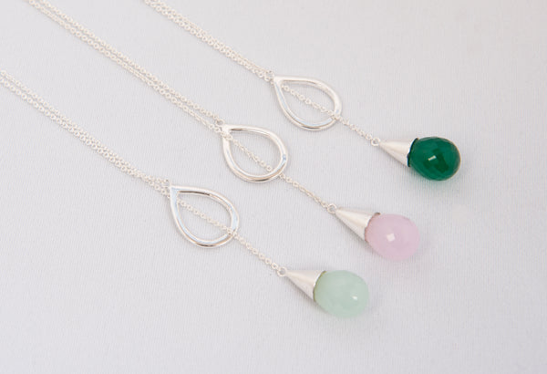 3 Lariat Necklaces with semi precious stone in green onyx, rose quartz and aqua chalcedony