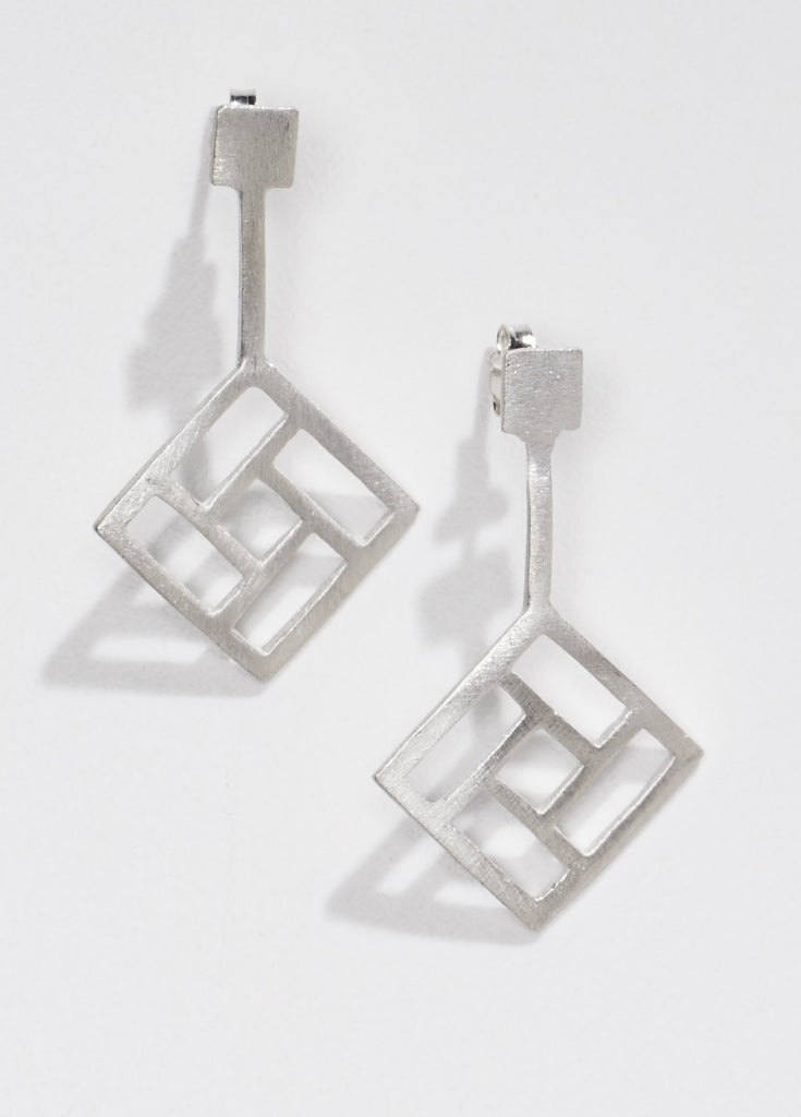 open square silver link earrings for OAG by Thank You India