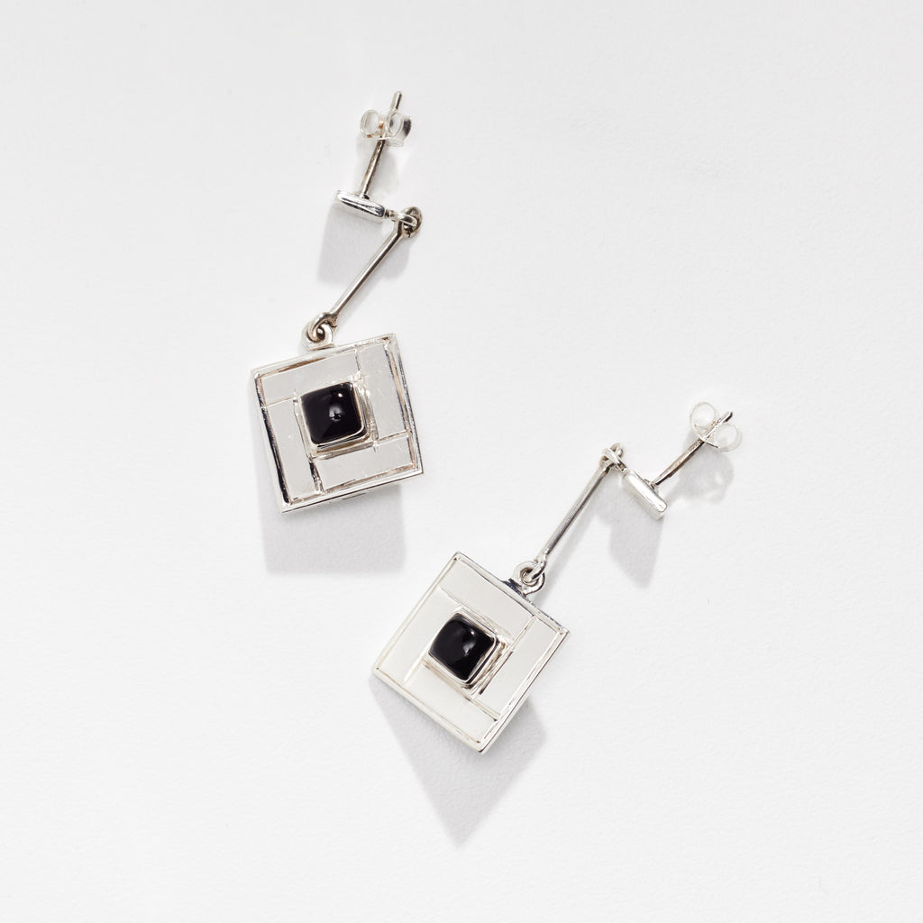 Close up shot of the Tile Earrings with Black Onyx Detail - OAG Collection in white background by Thank You India