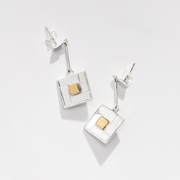 Close up shot of the Tile Earrings with Gold Detail - OAG Collection in white background by Thank You India