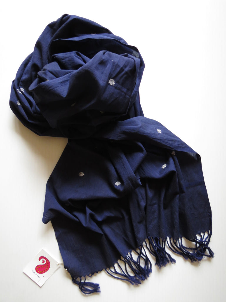 Cotton Scarves with Embroidery Detail in Navy Blue Color, Made in India