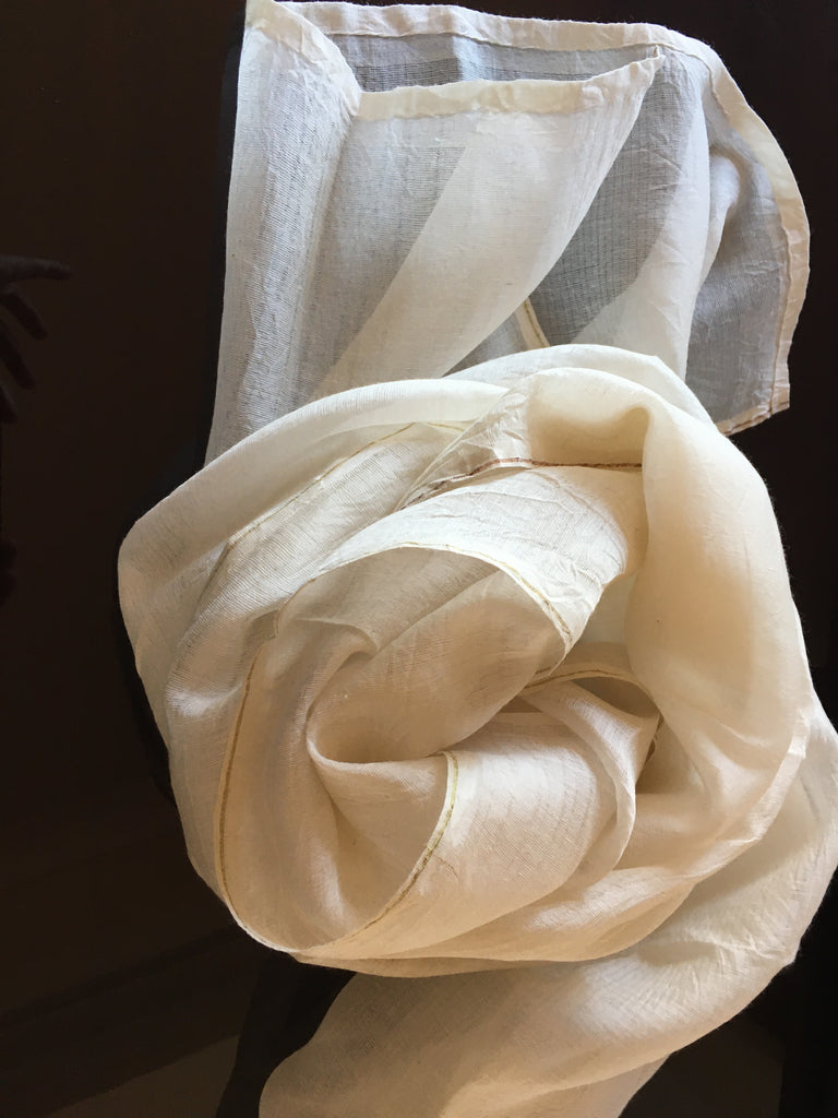 silk cotton soft ivory scarf with copper edging