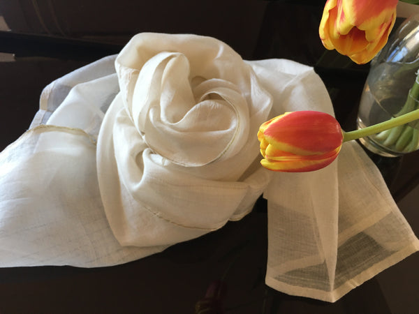 silk cotton soft ivory scarf with copper edging and tulip bloom