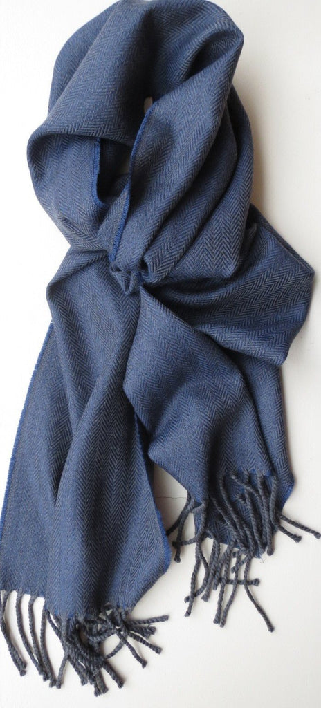 Mens Herringbone Pattern Blue Merino Wool Scarf | Ethical Slow Fashion