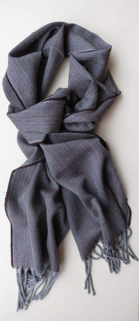 Mens Herringbone Pattern Grey Merino Wool Scarf | Ethical Slow Fashion