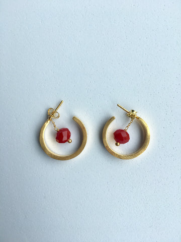 Gold Hoops with red coral removable bead_Ottawa Heart Institute