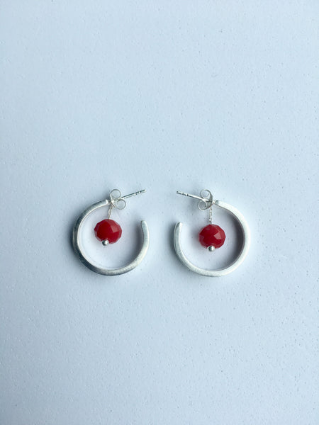 Silver Hoop Earrings with removable red coral bead_Ottawa Heart Institute
