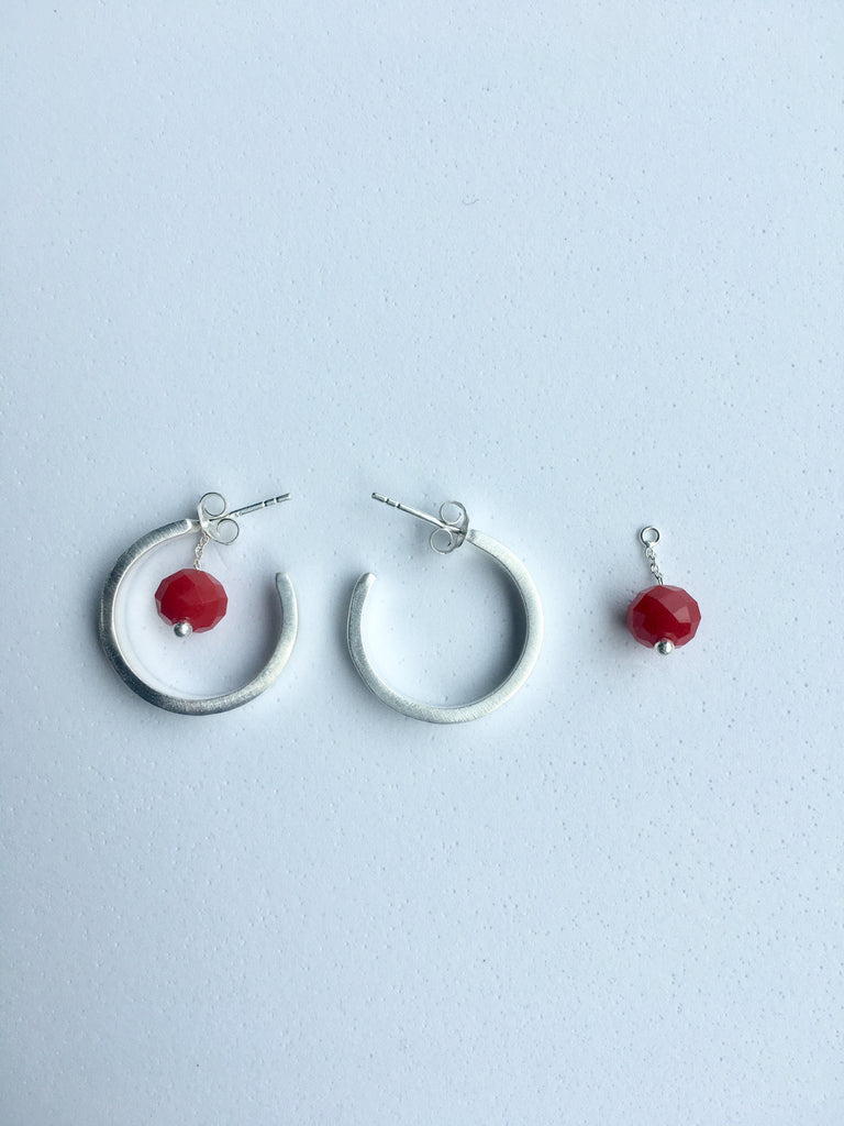 Silver Hoop Earrings showing removable red coral bead_Ottawa Heart Institute