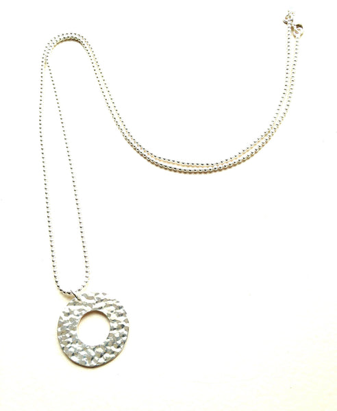 Hammered sterling silver ring on long ball chain