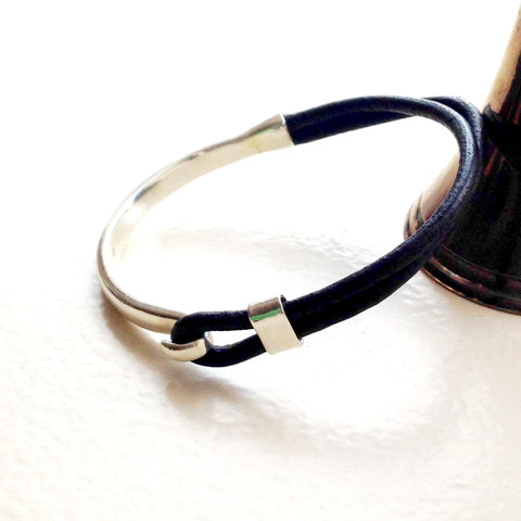 Brown leather and sterling silver bangle by Thank You India