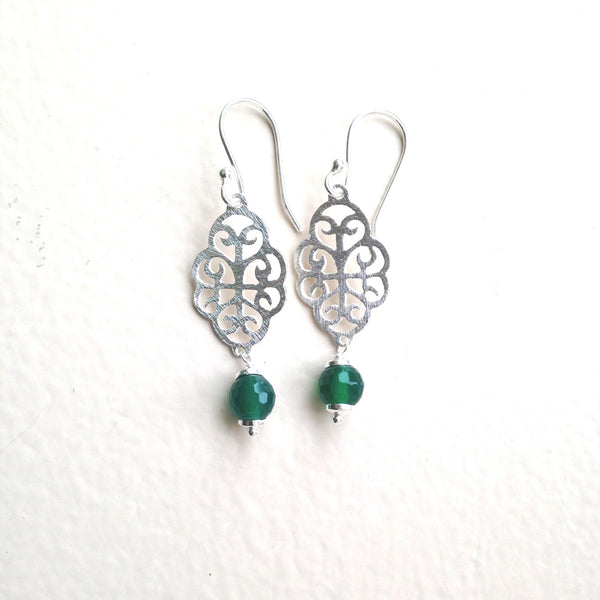 Silver filigree earrings with green onyx drop earrings