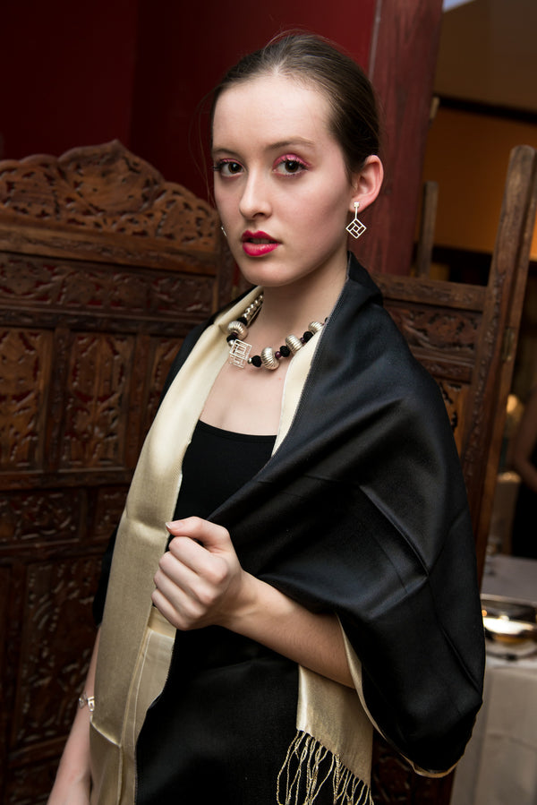 Model wearing Sally Cube Necklace - OAG Collection paired with other accessories by Thank You India