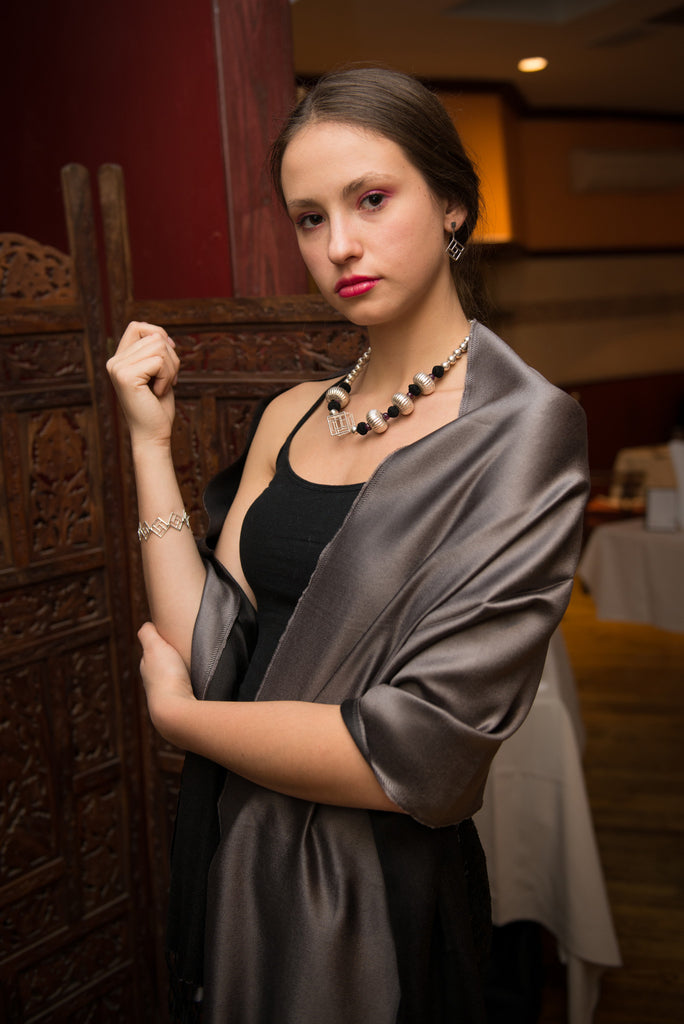 Model is wearing the Two tone Silk Stoles - Black/Silver