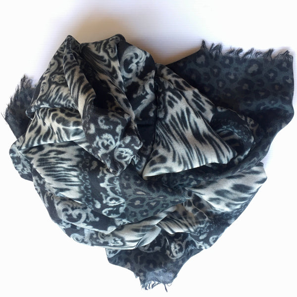 animal print scarf_ black & grays