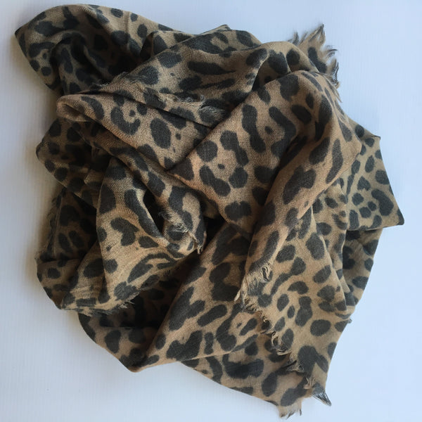 animal print scarf_muted camel and slate