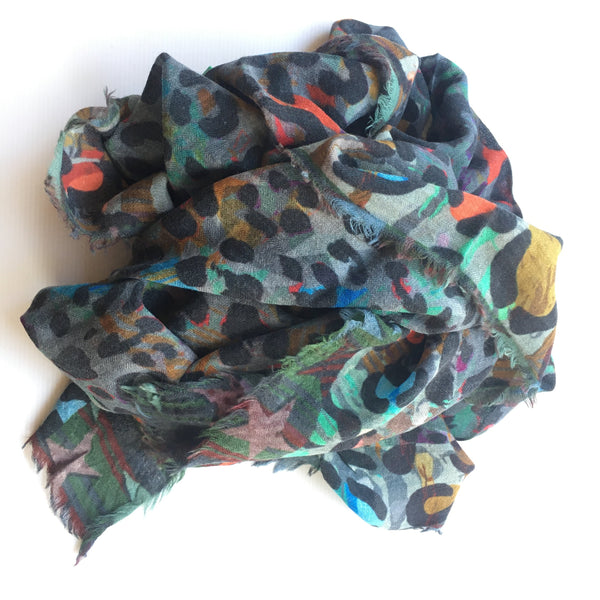animal print scarf_ multicolour