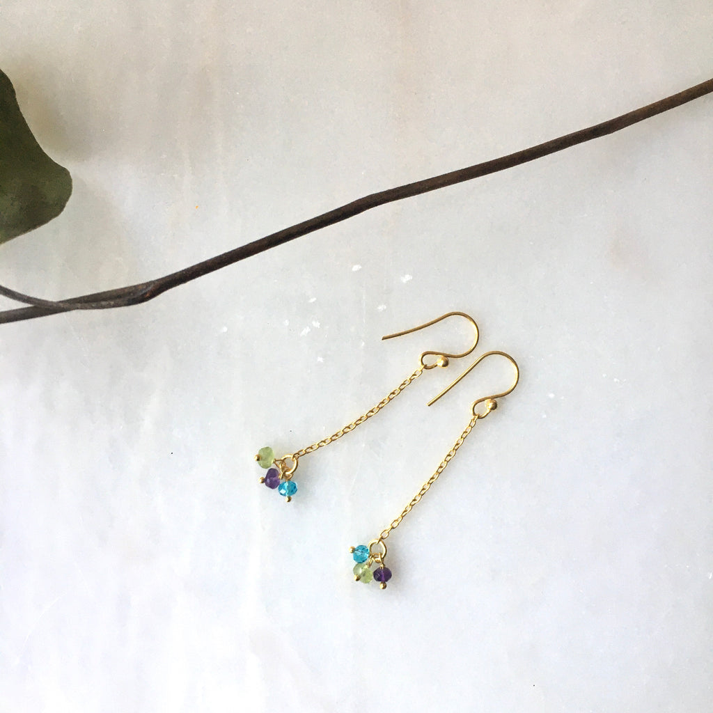 lina 3 stone earrings