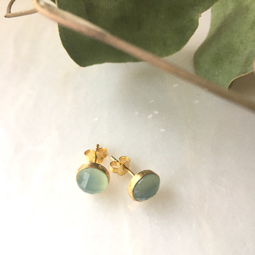 peridot studs gold plated by Thank You India