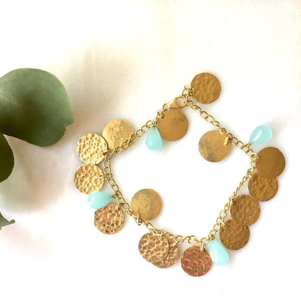 Hammered gold coin bracelets with green chalcedony stones