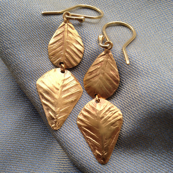 gold fig leaves earrings by Thank You India