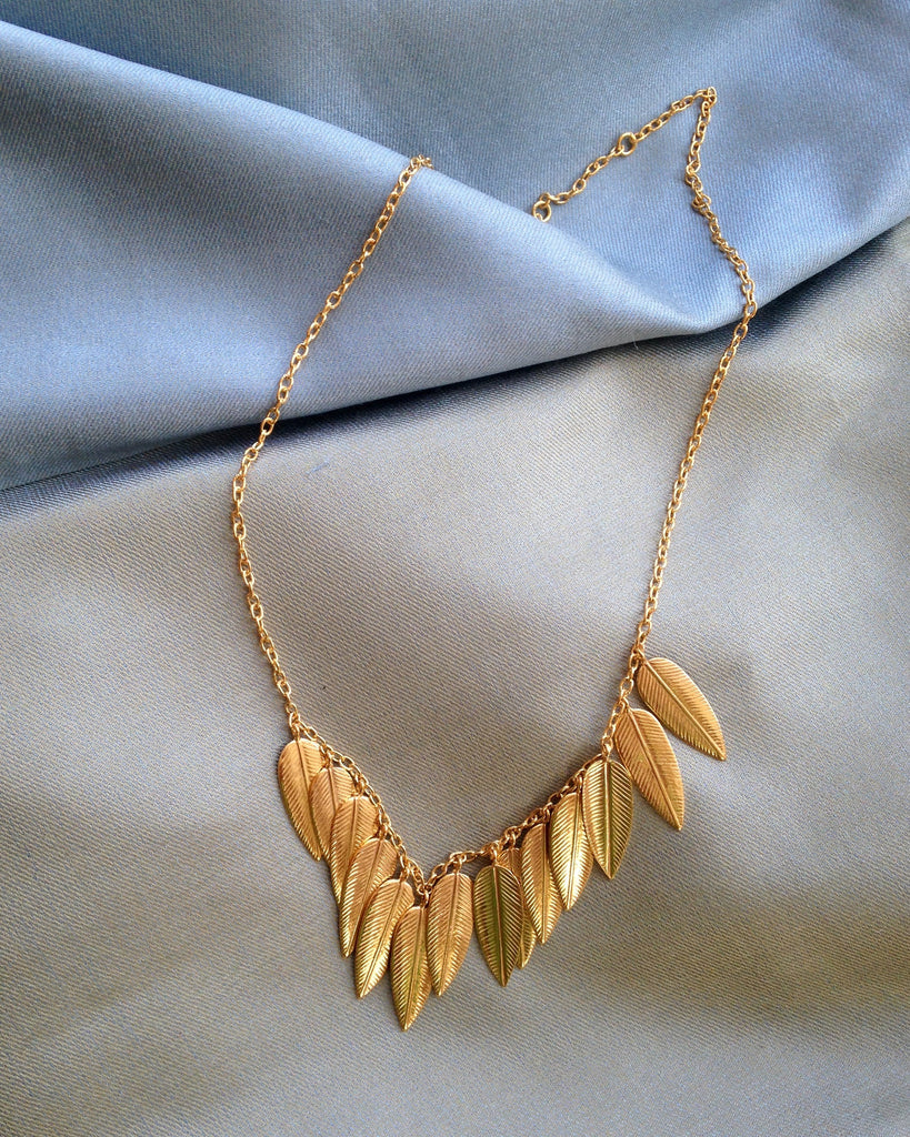 Gold Necklaces with Leaf Motif