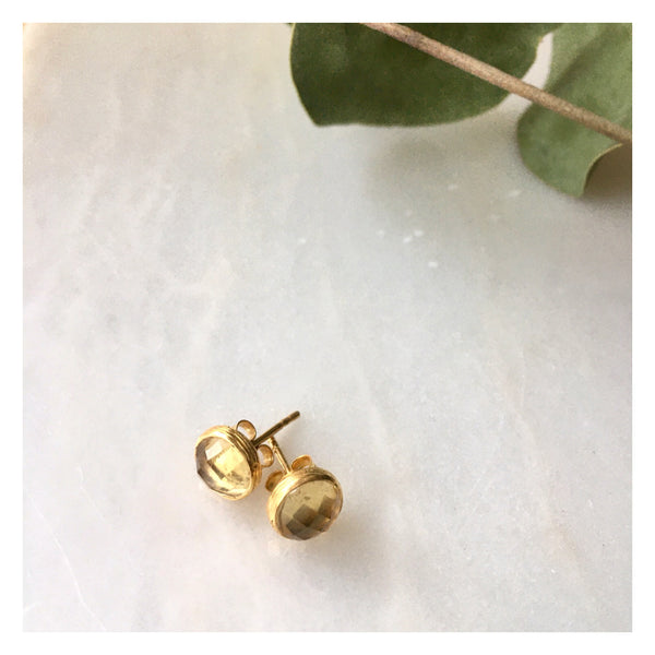 citrine studs gold plated by Thank You India