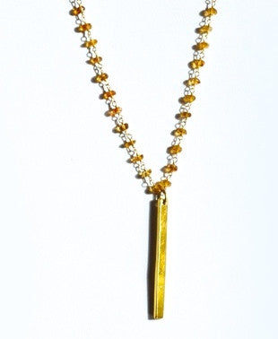 Long Citrine bead necklace with a gold bar pendant
