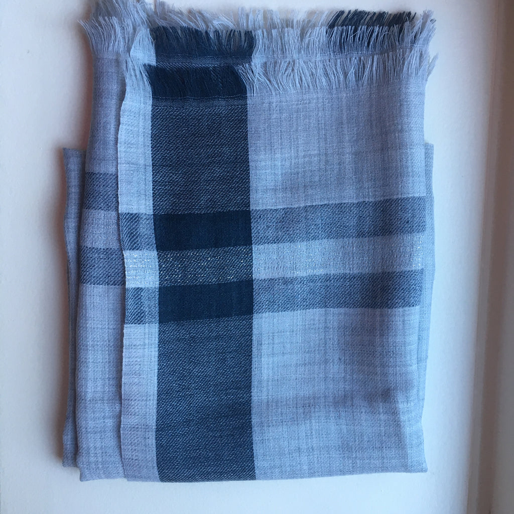 Check long wool scarf - Light Gray, Dark Grey with Silver