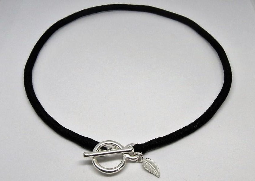 Lucky Iron Fish Sterling Silver Leaf Silk Strand Choker | Ethical Slow Fashion