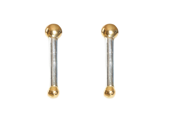 gold and silver rod earrings for TYI
