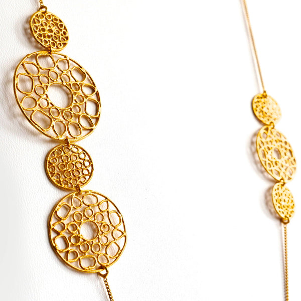 Spiral Coins Necklace in gold close up detail Thank You India