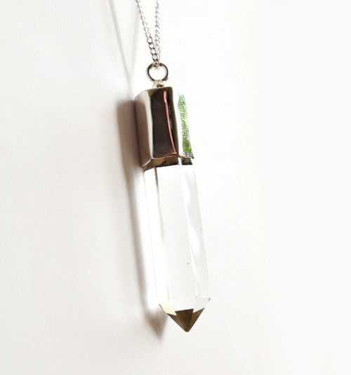 Pencil pendant in crystal quartz with silver cap and chain by Thank You India