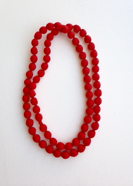 red fabric bead single strand necklace for TYI