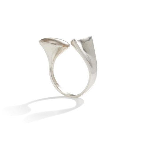 Adjustable contemporary silver ring with satin top