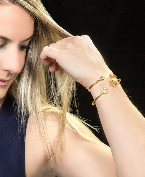 Two Salima gold cuffs on model, by Thank You India