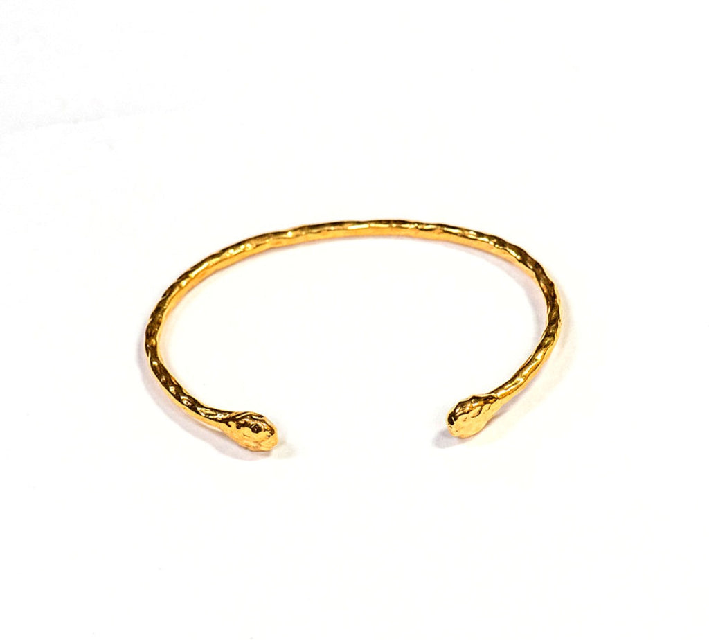 Salima gold cuff with textured beads at end by Thank You India