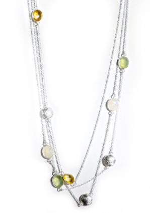 Layered Sophia Strand Beaded Necklace in citrine and phrenite by Thank You India