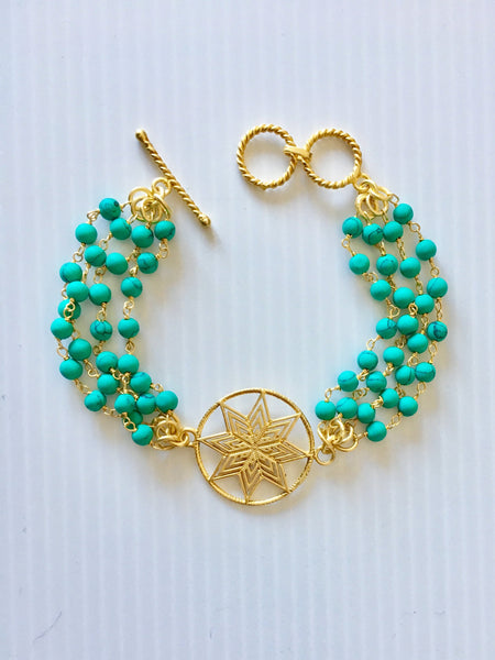 Turquoise bead bracelet with star pendant and with toggle clasp by Thank You India