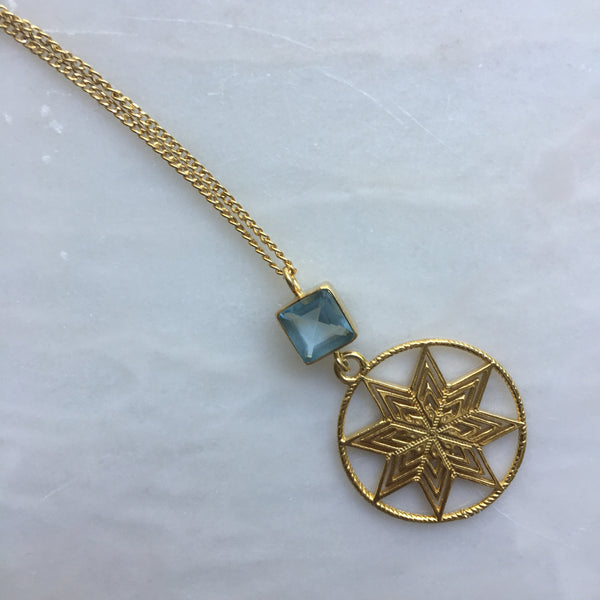 Gold plated Star pendant Necklace with Blue Glass Bead Detail by Thank You India