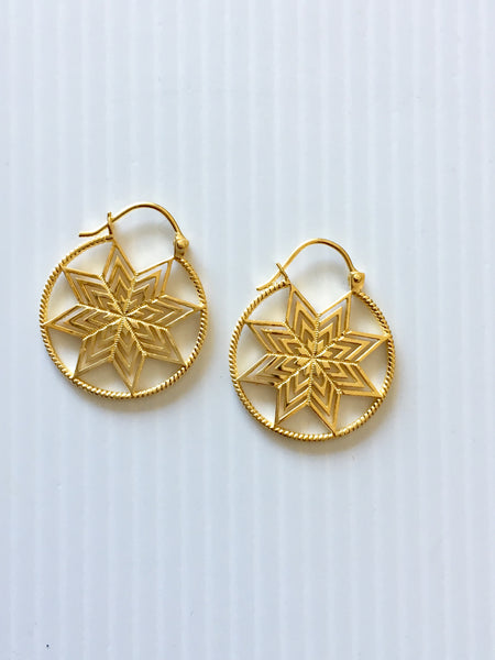 Gold Star earring hoops by Thank You India