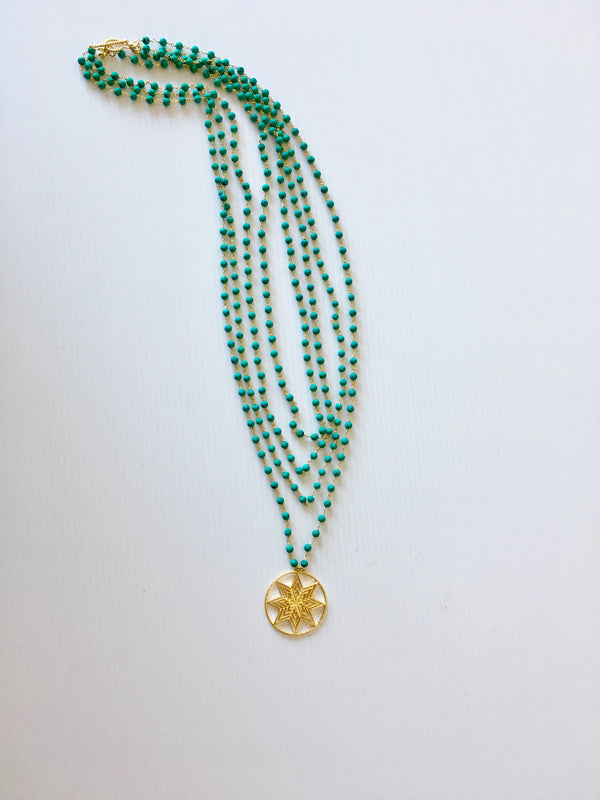 Turquoise bead necklace with star pendant and with toggle clasp by Thank You India