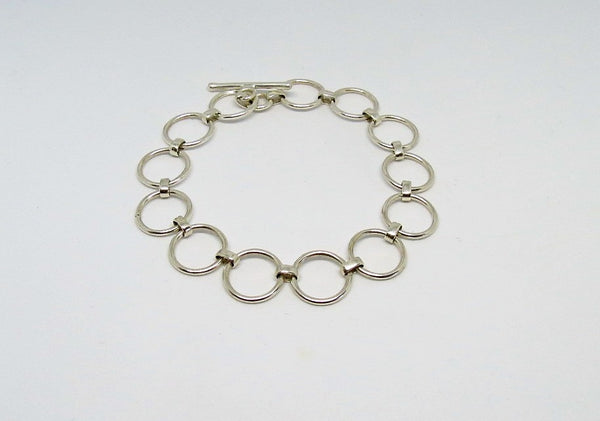 Sterling Silver Adjustable Circle Link Toggle Bracelet | Thank You India