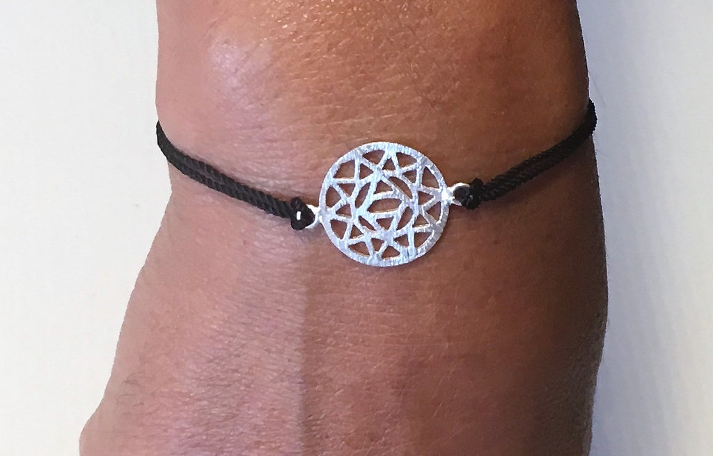 Black Silk Sterling Silver Heart Chakra Bracelet Ethical Slow Fashion