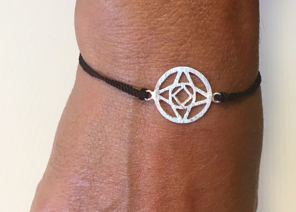 Sterling Silver Chakra on Black Silk Root Ethical Handmade