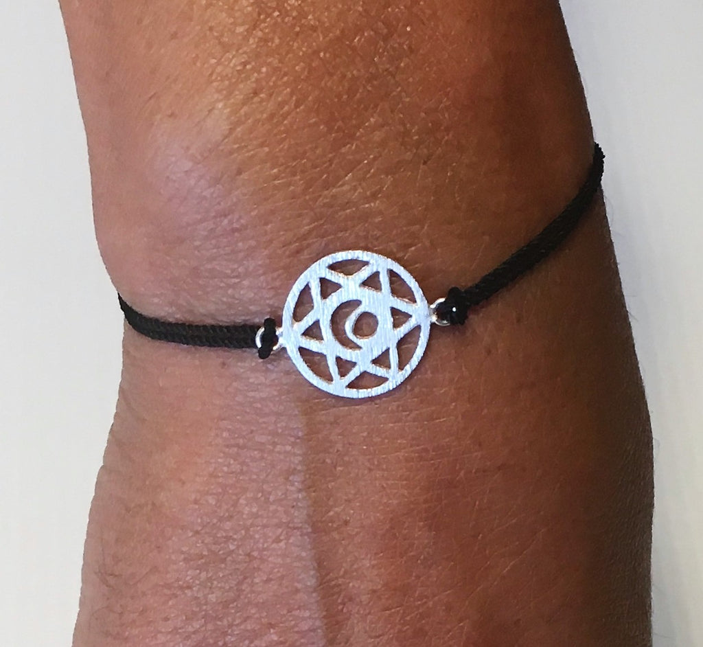 Black Silk Sterling Silver Sacral Chakra Bracelet Ethical Slow Fashion