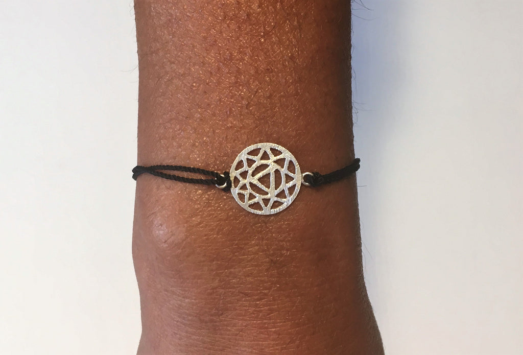Black Silk Sterling Silver Solar Plexus Chakra Bracelet Ethical Slow Fashion