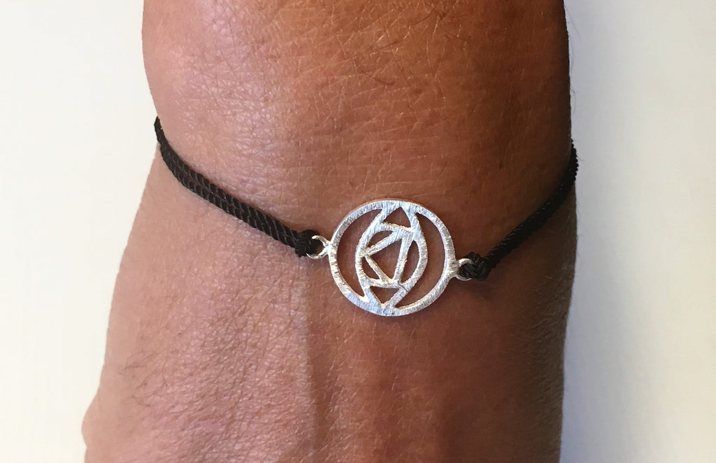 Black Silk Sterling Silver Third Eye Chakra Bracelet Ethical Slow Fashion