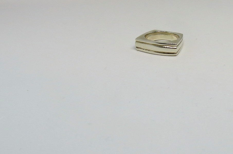 Sterling Silver Stack Ring Unisex Front | Ethical Fair Trade Ring