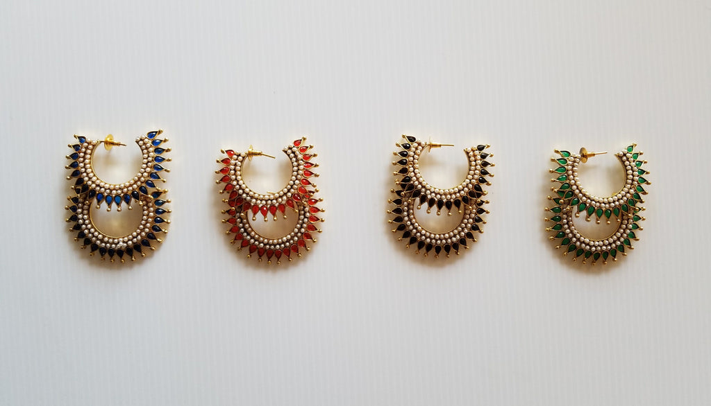 all four colour options for bollywood style studded handing earrings from thank you india